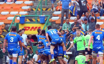 The Stormers celebrate another try in the victory over the Highlanders at Newlands, Cape Town (Photo by Carl Fourie/Gallo Images/Getty Images)
