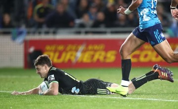 Beauden Barrett scores in the Hurricanes' victory over the Blues at Eden Park, Auckland
