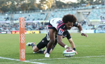 Henry Speight dots down for his second try as the Brumbies beat the Sunwolves at GIO Stadium, Canberra
