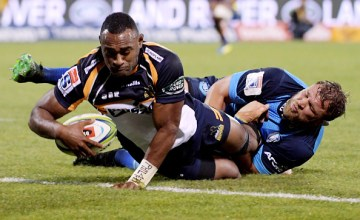 Tevita Kuridrani dots down for his hat-trick as the Brumbies beat the Bulls at GIO Stadium, Canberra