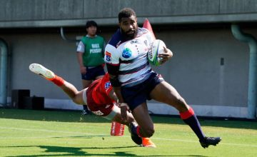 Marika Koroibete of the Rebels scores his side's second try during the Super Rugby match between Sunwolves and Rebels
