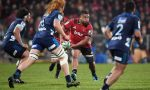 Andrew Makalio of the Crusaders looks to pass the ball during the round 15 Super Rugby match between the Crusaders and the Blues at Christchurch Stadium