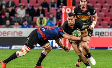 Dan Kriel of the Stormers is tackled during the Super Rugby match between Emirates Lions and DHL Stormers at Emirates Airline Park