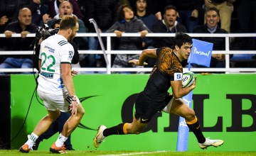 Matias Moroni of Jaguares scores a try during a Quarter Final match between Jaguares and Chiefs as part of Super Rugby 2019 on June 21, 2019 in Buenos Aires, Argentina
