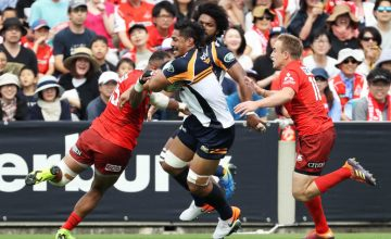 Pete Samu of the Brumbies makes a break to score his side's first try during the Super Rugby match between Sunwolves and Brumbies at the Prince Chichibu Memorial Ground