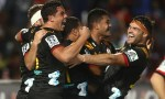 Tumua Manu celebrates with chiefs in comeback victory over Crusaders in an epic Super Rugby clash in Suva, Fiji