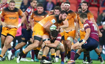 Jaguares' Javier Ortega Desio of the Jaguares is tackled during the Round 16 Super Rugby victory over the Reds at Suncorp Stadium on June 01, 2019 in Brisbane, Australia.