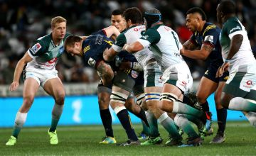 Liam Squire of the Highlanders charges forward during the round 17 Super Rugby match between the Highlanders and the Bulls at Forsyth Barr Stadium