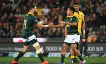 Herschel Jantjies celebrates his first of two Rugby Championship tries in a stunning Test debut as South Africa walloped Australia 35-17 at Ellis Park, Johannesburg