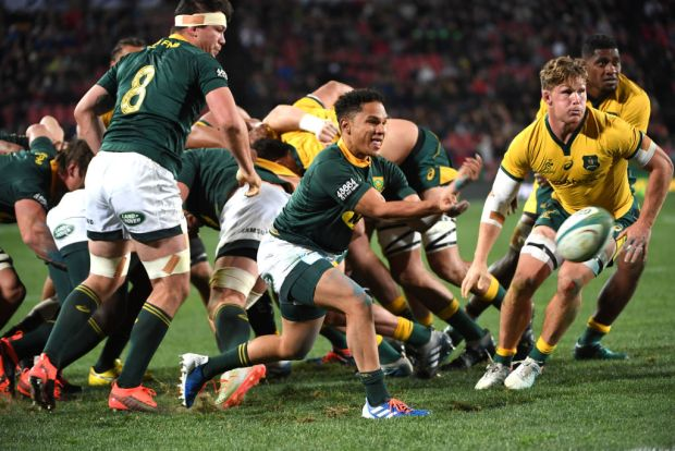 Herschel Jantjies of the Springboks during The Rugby Championship