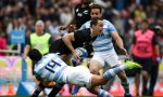 Ben Smith of New Zealand is tackled by Matias Moroni of Argentina during a match between Argentina and New Zealand as part of The Rugby Championship 2019