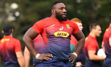 Tendai Mtawarira looks on during a Springboks training session at Porirua Park o