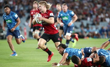 Jack Goodhue starred for the Crusaders, scoring a try and setting up Richie Mo'unga's try as the Crusaders cruised to a comfortable victory over the Blues at Eden Park, Auckland