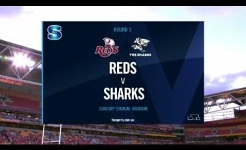 Reds v Sharks Rd.5 2020 Super rugby video highlights