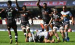 Sharks players appeal to the referee after Johan du Toit's terrible tackle on Louis Schreuder in the opening seconds of the Super Rugby derby at Kings Park, Durban