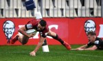 CHRISTCHURCH, NEW ZEALAND - JUNE 28: Will Jordan of the Crusaders dives over to score a try during the round 3 Super Rugby Aotearoa match between the Crusaders and the Chiefs at Orangetheory Stadium on June 28, 2020 in Christchurch, New Zealand.