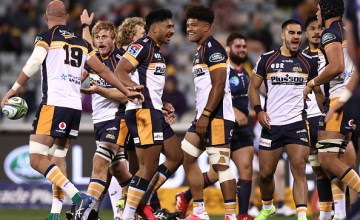 The Brumbies celebrate being awarded a penalty during the round one Super Rugby AU match between the Brumbies and the Rebels at GIO Stadium on July 04, 2020 in Canberra, Australia