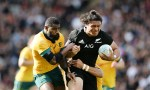 Caleb Clarke is tackled by Marika Koroibete during New Zealand's 27-7 Bledisloe cup win over Australia at Eden Park, Auckland