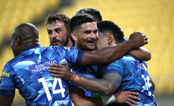 Blues celebrate another try ion their 2021 Super Rugby Aotearoa win against the Hurricanes at Sky Stadium, Wellington.