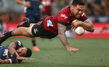 Super Rugby Aotearoa, Round One, Highlanders vs Crusaders - Codie Taylor scores in the Crusaders' 13-26 win over the Highlanders at Forsyth Barr Stadium, Dunedin