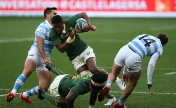Aphelele Fassi on the charge in South Africa's 32-12 win over Argentina at Nelson Mandela Bay Stadium