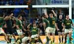 Springboks celebrate beating All Blacks 31-29 on Gold Coast