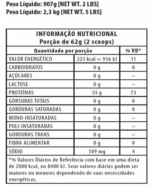 Informação Nutritional - ISO Whey Lowcarb Integralmedica