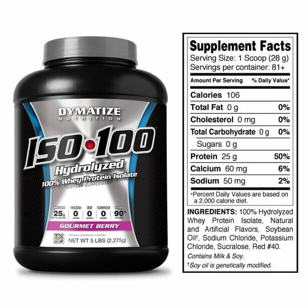 Iso 100 - Whey Protein Dymatize - Informação Nutricional