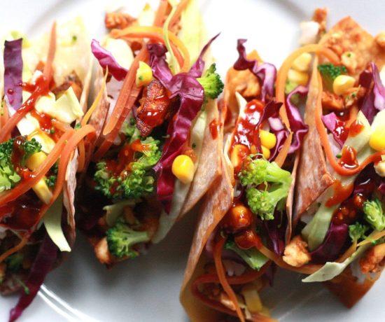 Vegetarian Bibimbap Wonton Tacos