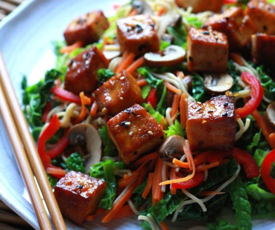 Sweet and Spicy Tofu Over Veggies and Noodles