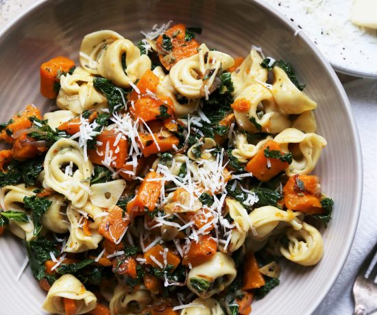 Warm Roasted Butternut Squash and Kale Tortellini Salad