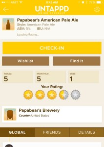 Untappd rating