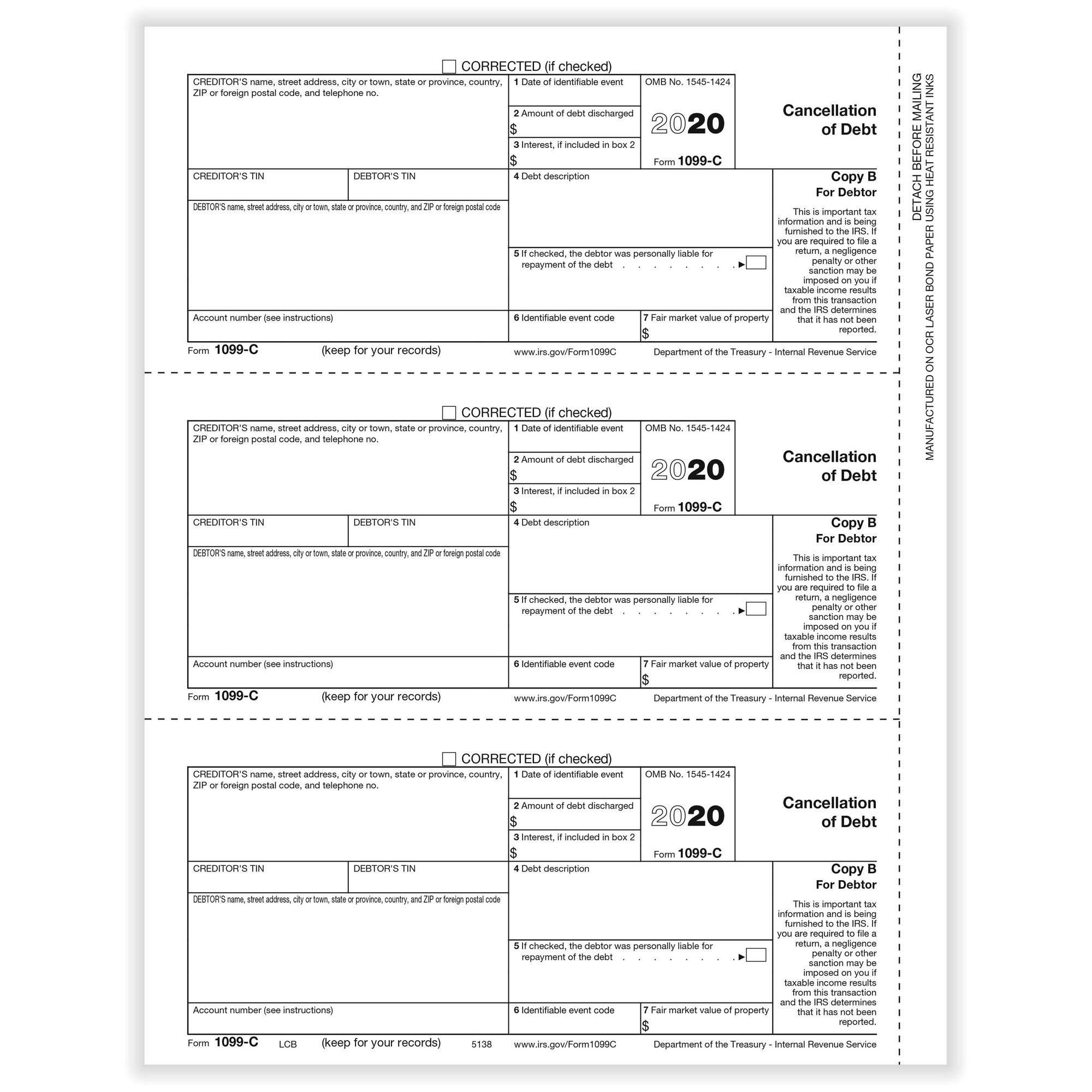 C Cancellation Of Debt Debtor Copy B Cut Sheet 500