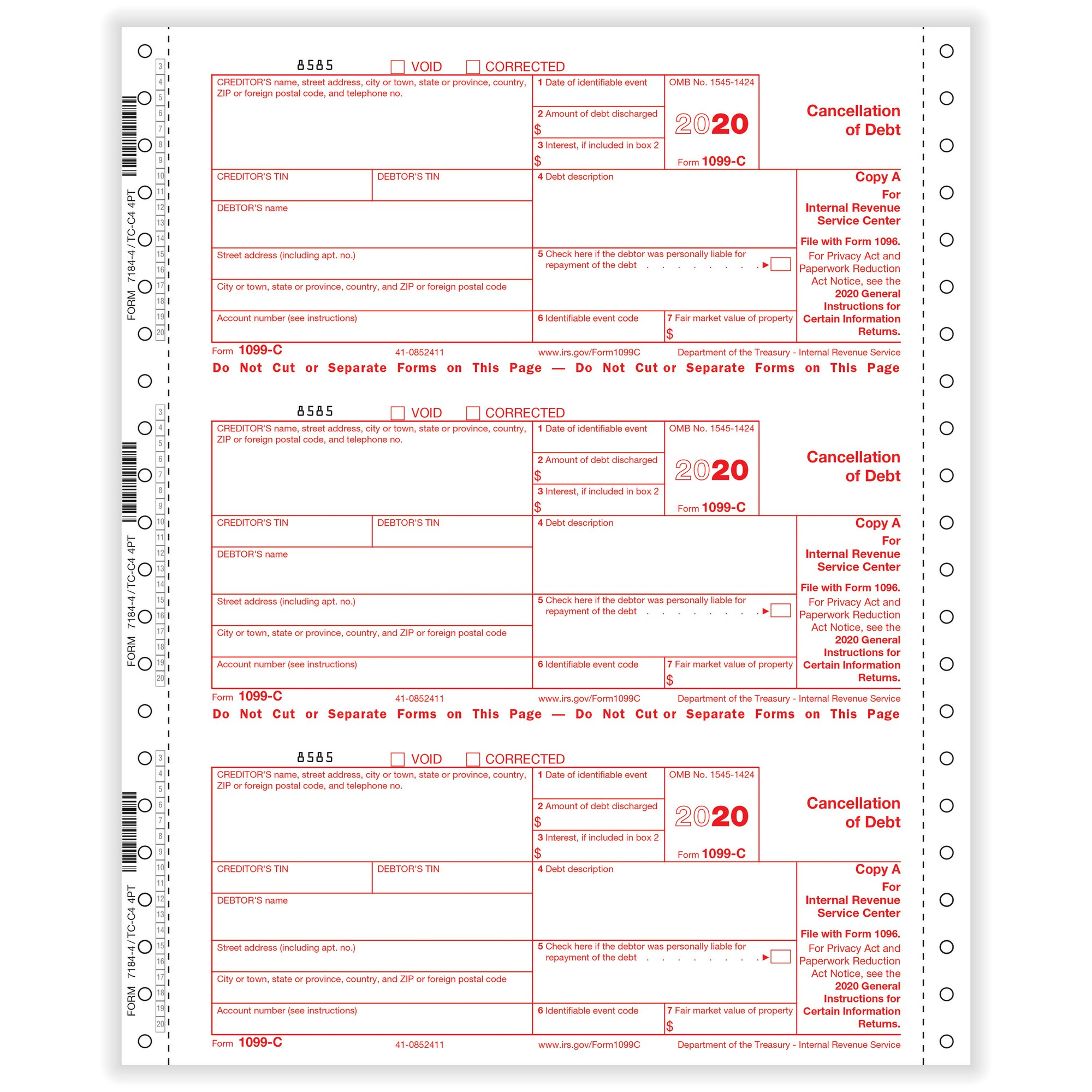 C Cancellation Of Debt 4 Part 1 Wide Carbonless 200