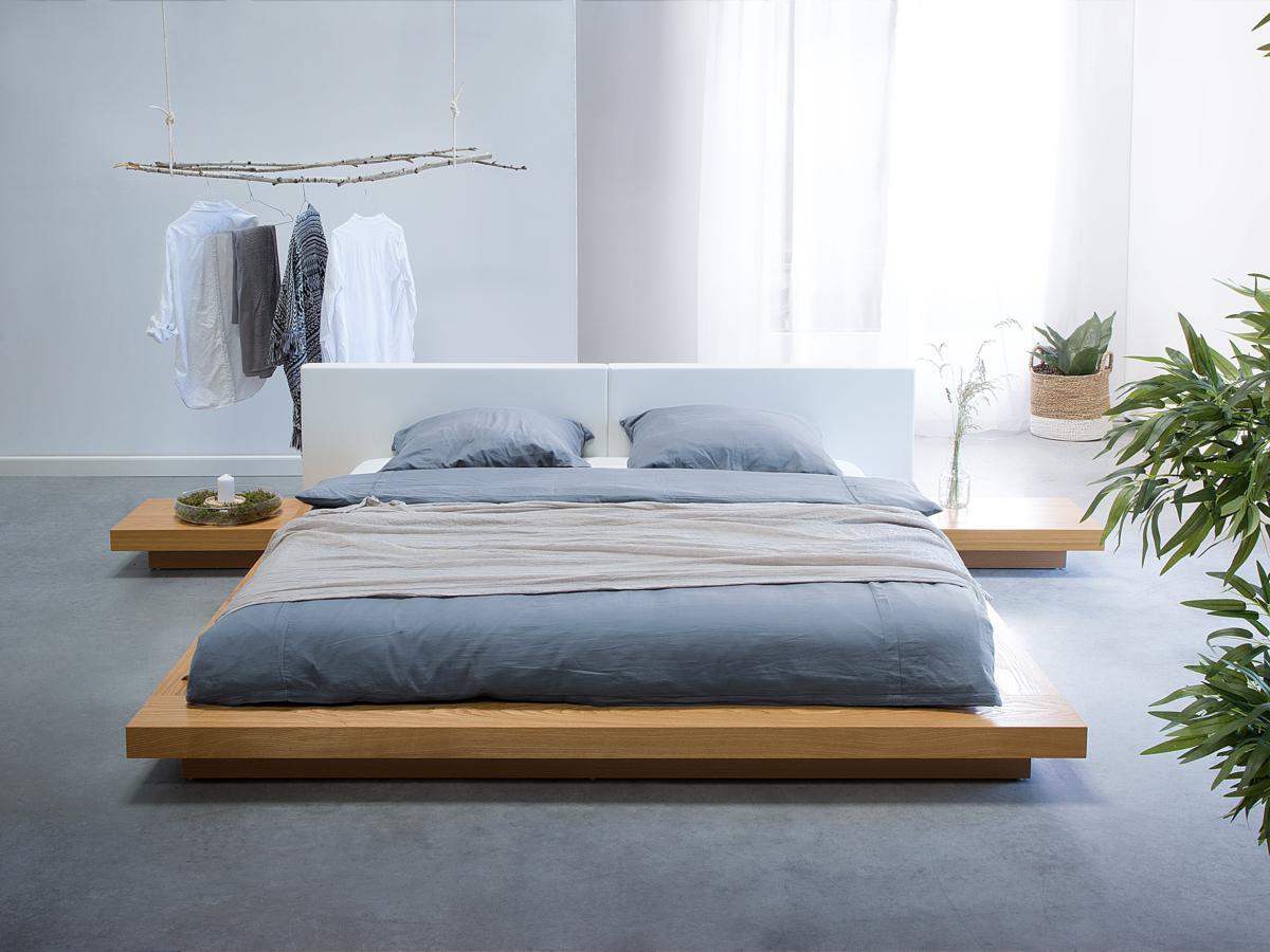 Japanisches Designer Holz Bett Japan Style japanischer Stil Futonbett Buche hellbraun  Supply24