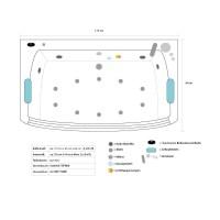 Whirlpool Badewanne mit 15 Massage Dsen Glas LED Heizung ...