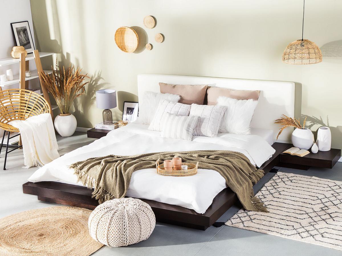 designer wooden bed japan 160 180 x 200 cm walnut dark brown with slatted frame japanese futon bed