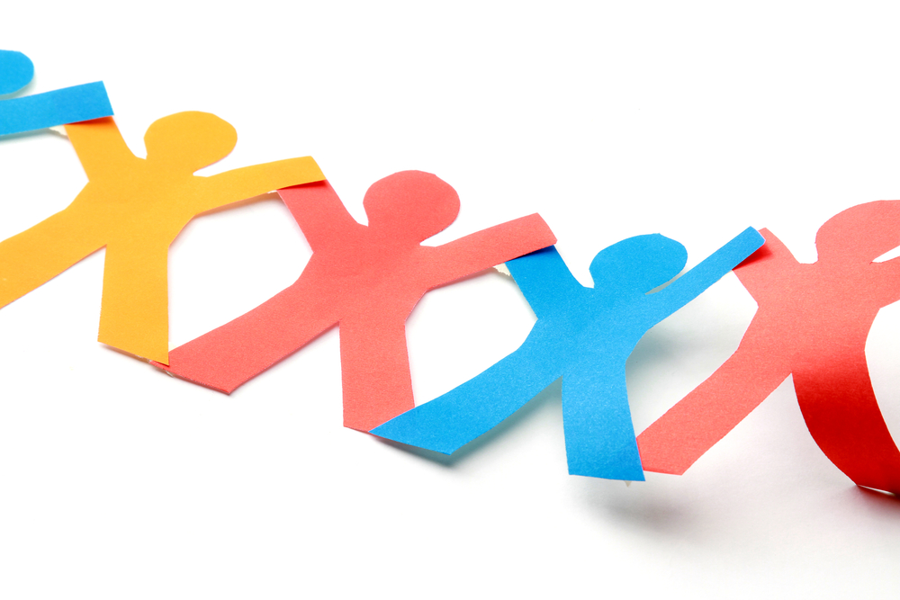 Multicolored paper figures