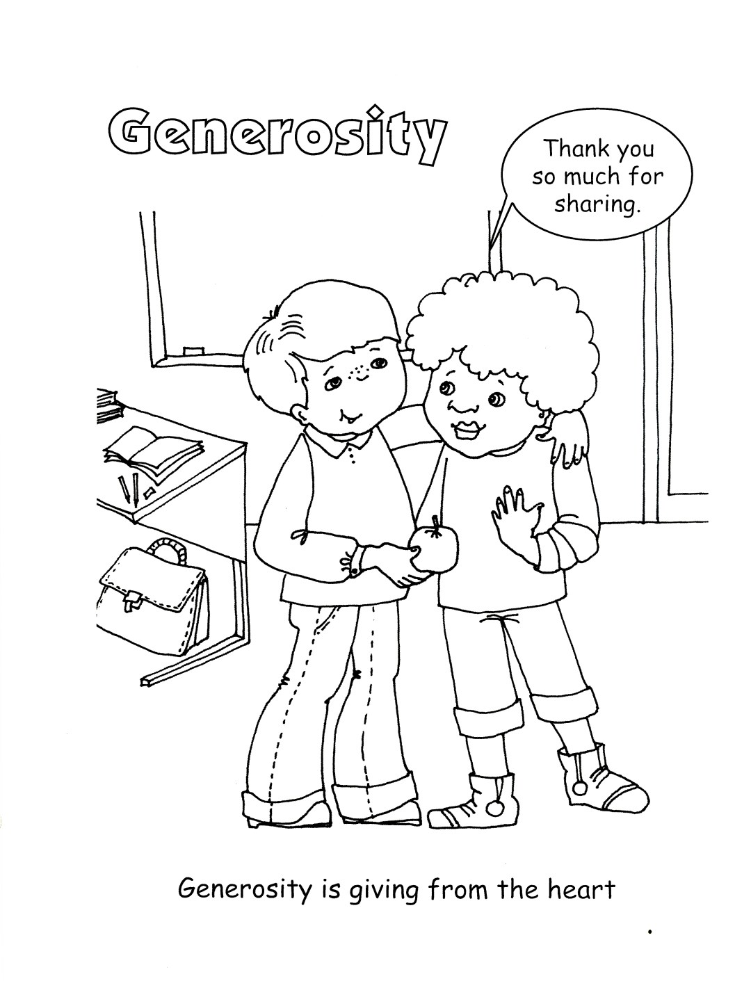 Coloring pages about gving ~ 5: Generosity | Supporting the Core Activities