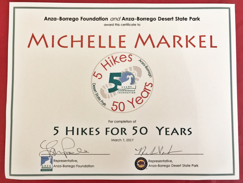 5 Hikes For 50 Years Certificate From Anza-Borrego Foundation