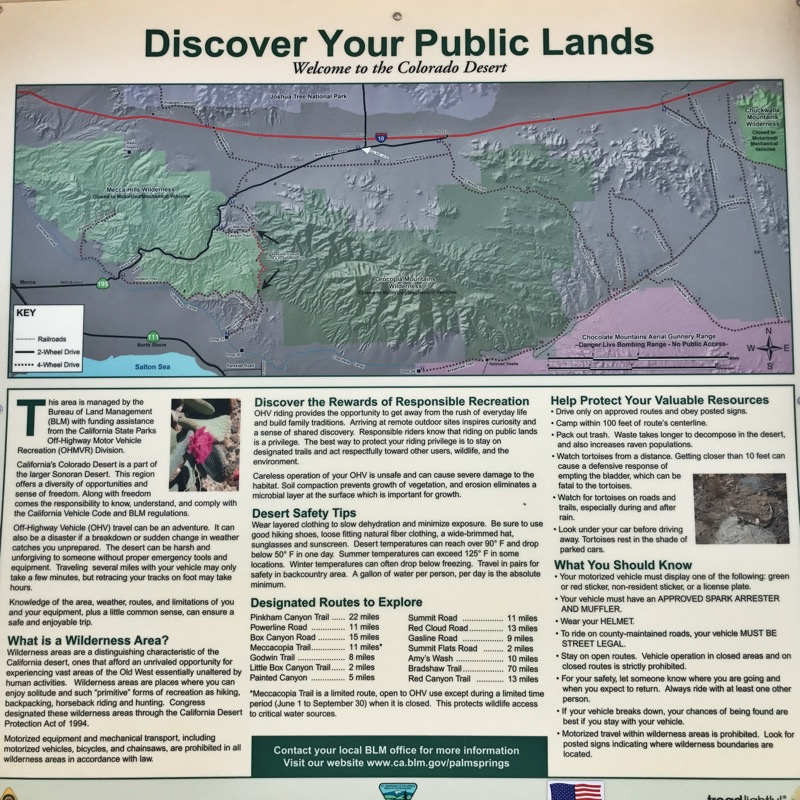 Mecca Hills Wilderness Info Board