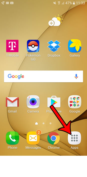 open the apps folder on the galaxy on5