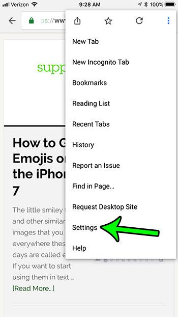 choose the settings option