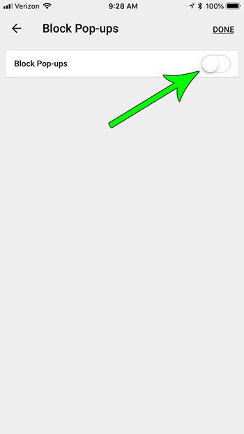 how stop blocking pop ups chrome iphone