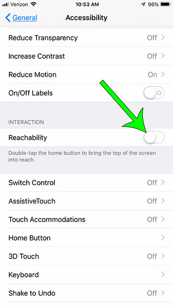 how to disable reachability on iphone 7