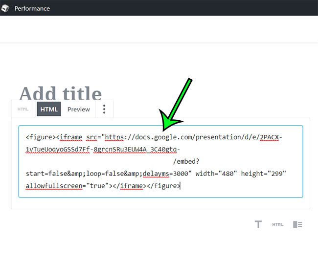 how to embed google slides code into wordpress