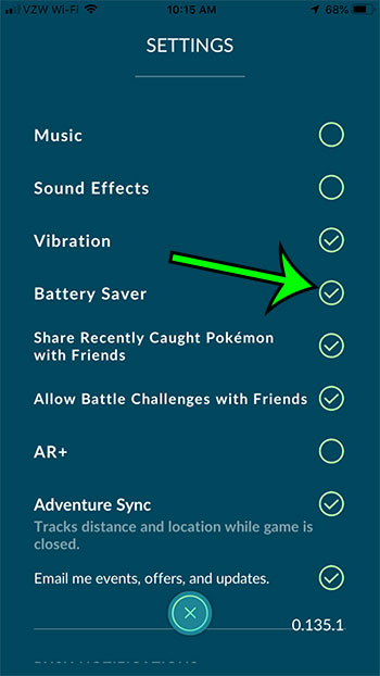 how to enable battery saver in pokemon go