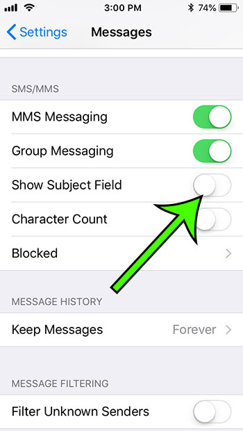 how to remove subject field from iphone messages
