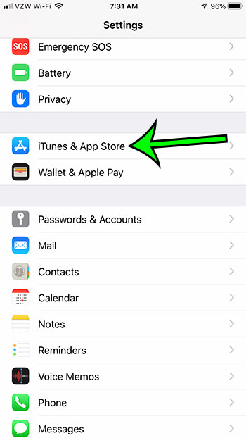 open the itunes and app store menu