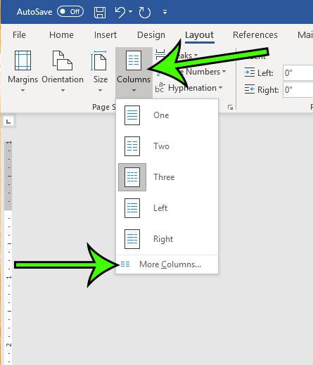 click columns, then more columns